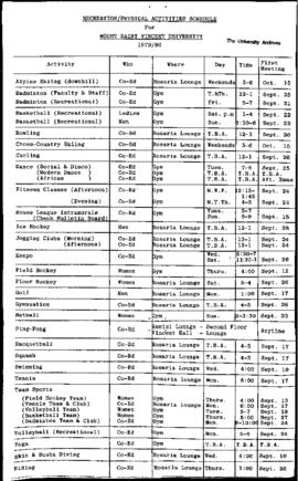 Athletics and Recreation Schedule- 1979-1980